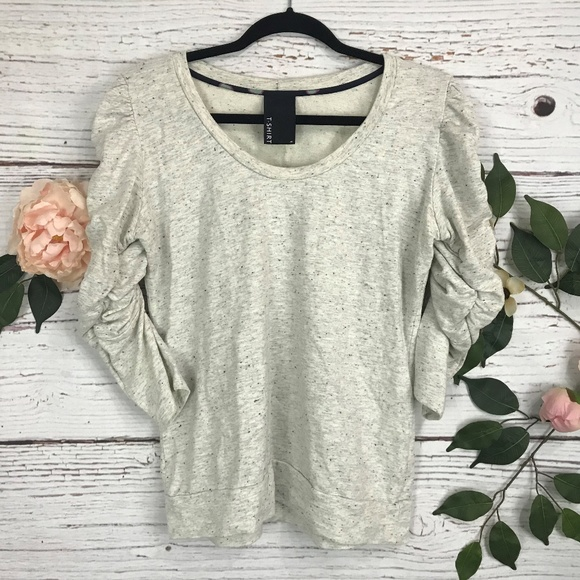 Anthropologie Tops - Dolan Size Medium Heather Gray Pleated Sleeve Top